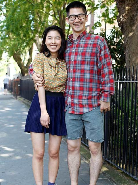 <p>Photo by Silvia Olsen @ Anthea Simms.Jung, 21, Student. Vintage shirt and shoes, skirt from Korea, Dorothy Perkins socks.Don, 28, Student. Beyond Retro shirt and shorts, shoes and glasses from Korea.</p>