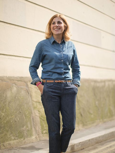 <p>Christina Simone – Workflow Director</p>  <p>Uniqlo top, Gap jeans, Office shoes, Longchamp bag.</p>