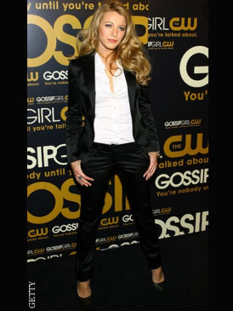 <p>Blake Liveley goes for a skinny pant to get a modern tuxedo look</p>