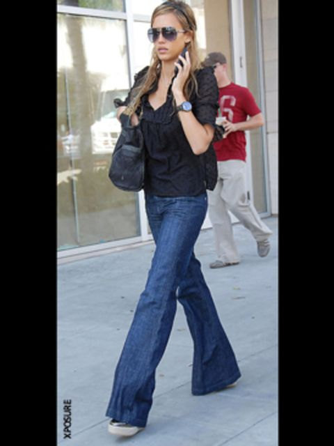 <p>Jessica's boho blouse give sthese denim flares a hippy vibe</p>