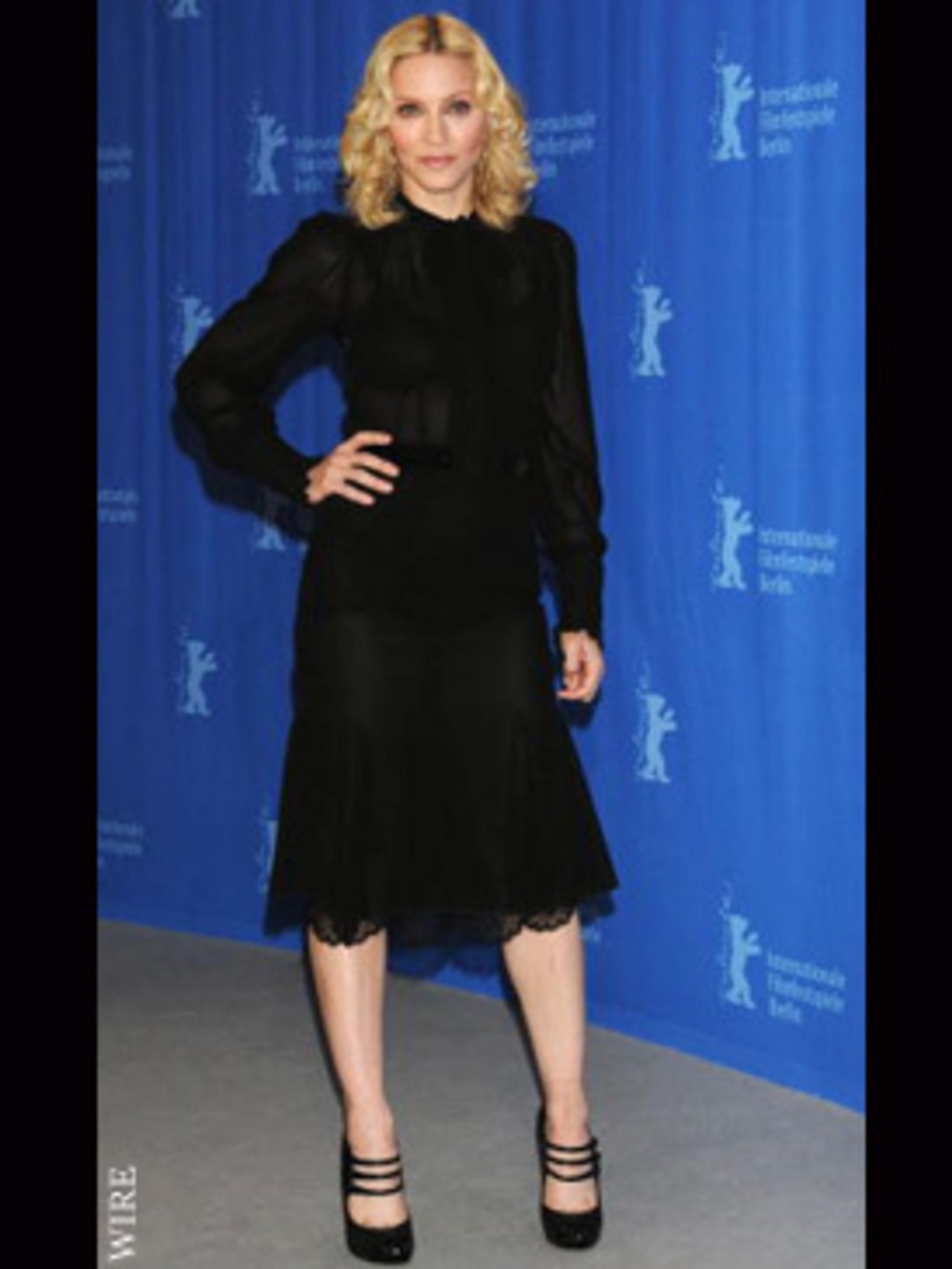 <p>The sheer fabric of Madonna's grown up look keeps it from being frumpy</p>