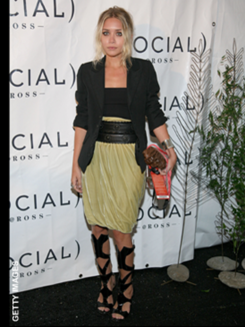 <p>We love Ashley's fashion forward look, the waist cinching belt and gladiator heels are so on trend, while the blazer rounds off the look effortlessly</p>