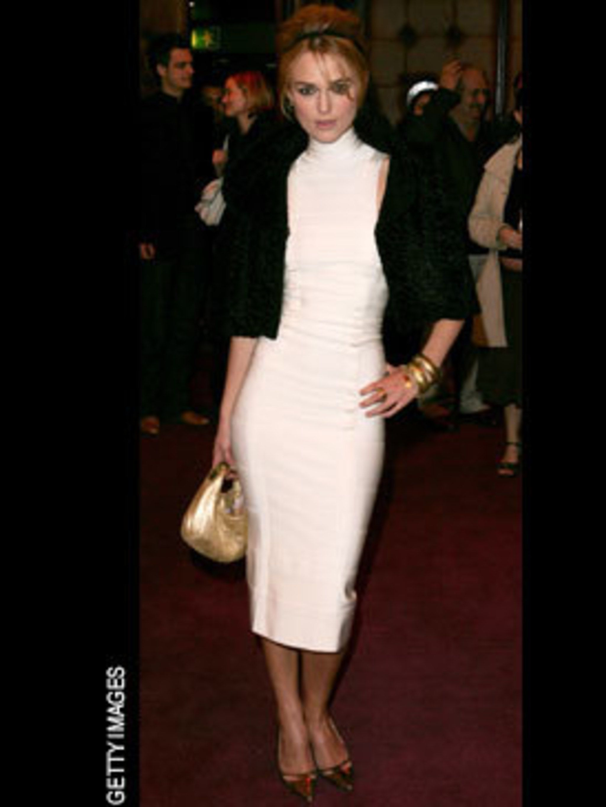 <p>Kiera was one of the first stars to rediscover the bandage dress picking vintage HL for an awards event</p>