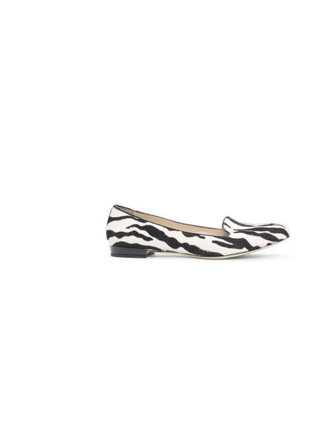 <p>It's the season of the flat shoe - and these zebra print slip-ons are bang on the money!</p><p>Zebra-print slippers, £280</p>