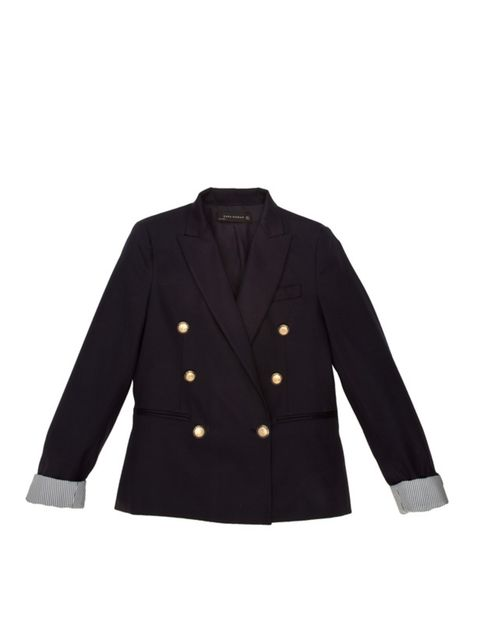<p>Gold button double-breasted blazer, £69.99, by Zara (0207 534 9500)</p>