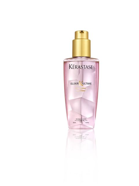 """<p>'This smells beautiful and calms frizz, to leave hair feeling incredibly soft,' says Tanya Burr.</p><p><em><a href=""""http://kerastase.co.uk/products/elixir-ultime/elixir-ultime.aspx"""">Kérastase</a> Elixir Ultime Imperial Tea for Colour Treated Hair, £34."""