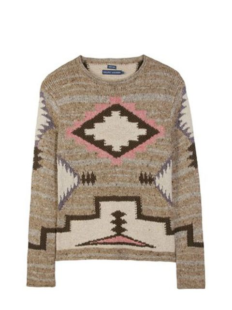 """<p>Patterned knitted jumper, £409.88, by Ralph Lauren at <a href=""""http://www.mytheresa.com/shop/SIERRA-BEACON-PULLOVER-p-12380.html"""">Mytheresa</a></p>"""