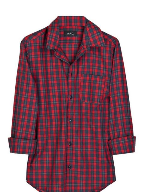 """<p>Checked cotton shirt, £105, by A.P.C. at <a href=""""http://www.net-a-porter.com/product/63535"""">Net-a-Porter </a></p>"""