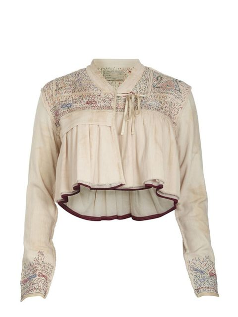 <p>Cropped embroidered top, £110, by All Saints (08449 802211)</p>