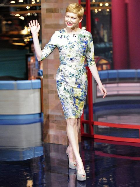 <p>Michelle Williams makes an appearance on The Late Show With David Letterman wearing an Erdem dress with Giuseppe Zanotti heels, 1 February 2012</p>