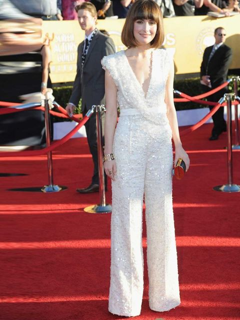 <p>Rose Byrne opted for an Elie Saab jumpsuit and carried a Lena Erziak clutch on the red carpet for the 2012 Screen Actors Guild Awards</p>