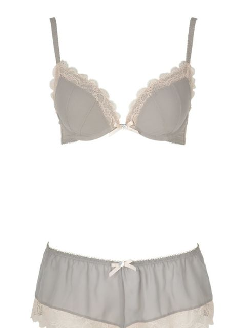 <p>Grey cotton bra and shorts set, £19, by Presence at Debenhams (08445 616161)</p>