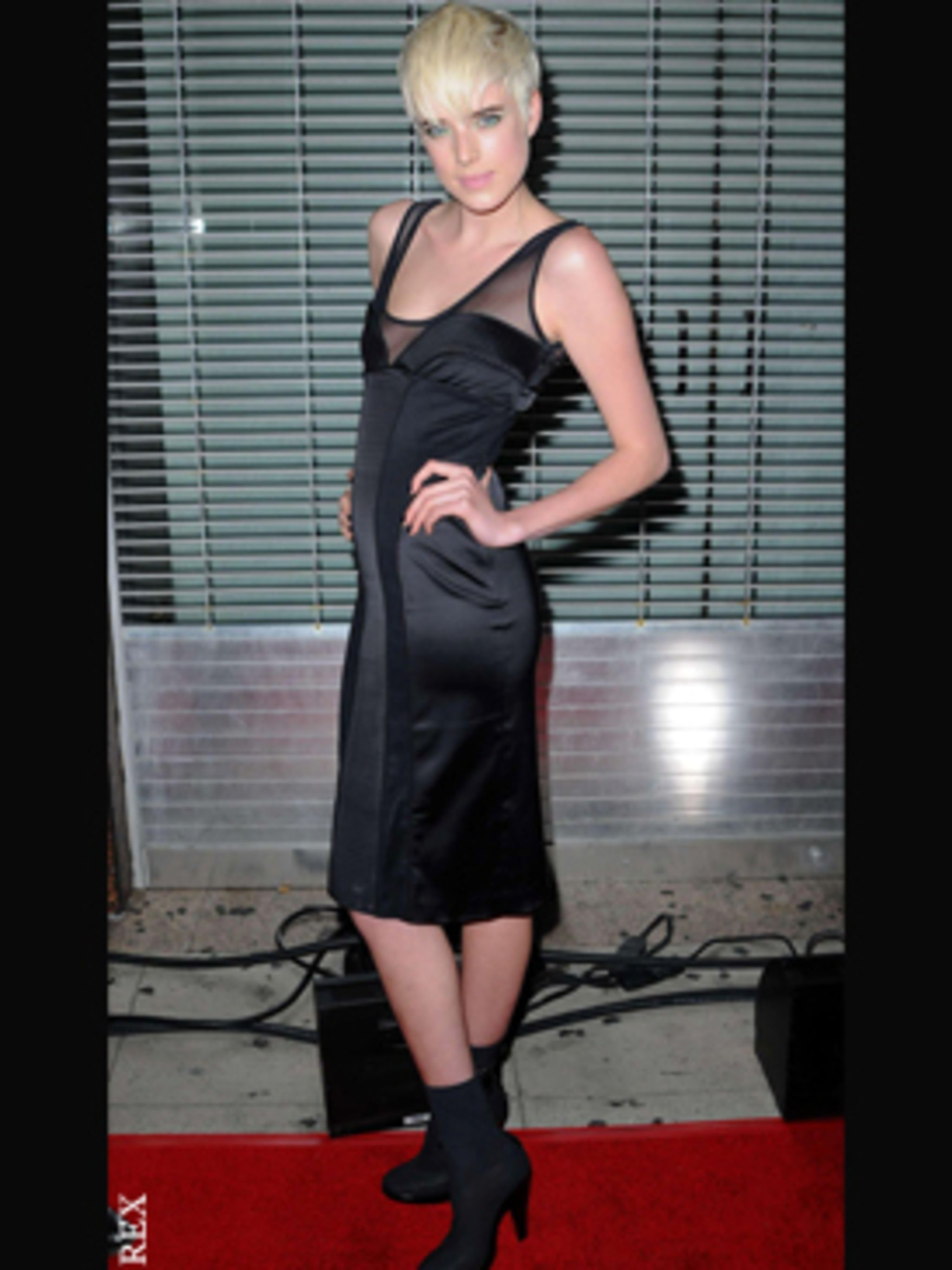<p>Agyness Deyn also at the NME Awards USA rocks a black mesh and satin number –and perfectly accessorises with her peroxide crop and pale pink pout. </p>
