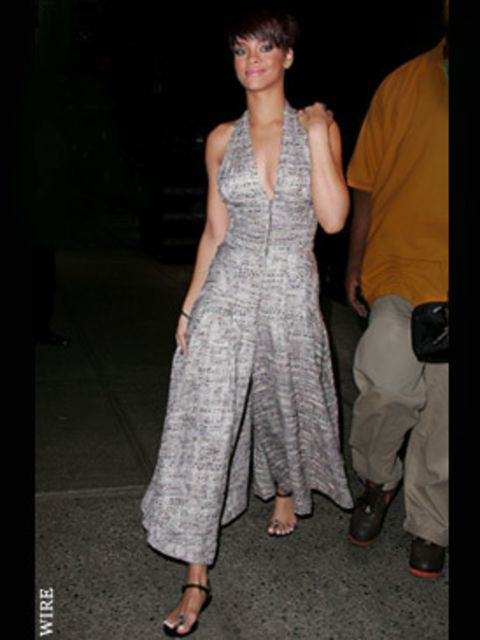 <p>Rihanna in this season's must-have jumpsuit at a party in New York</p>
