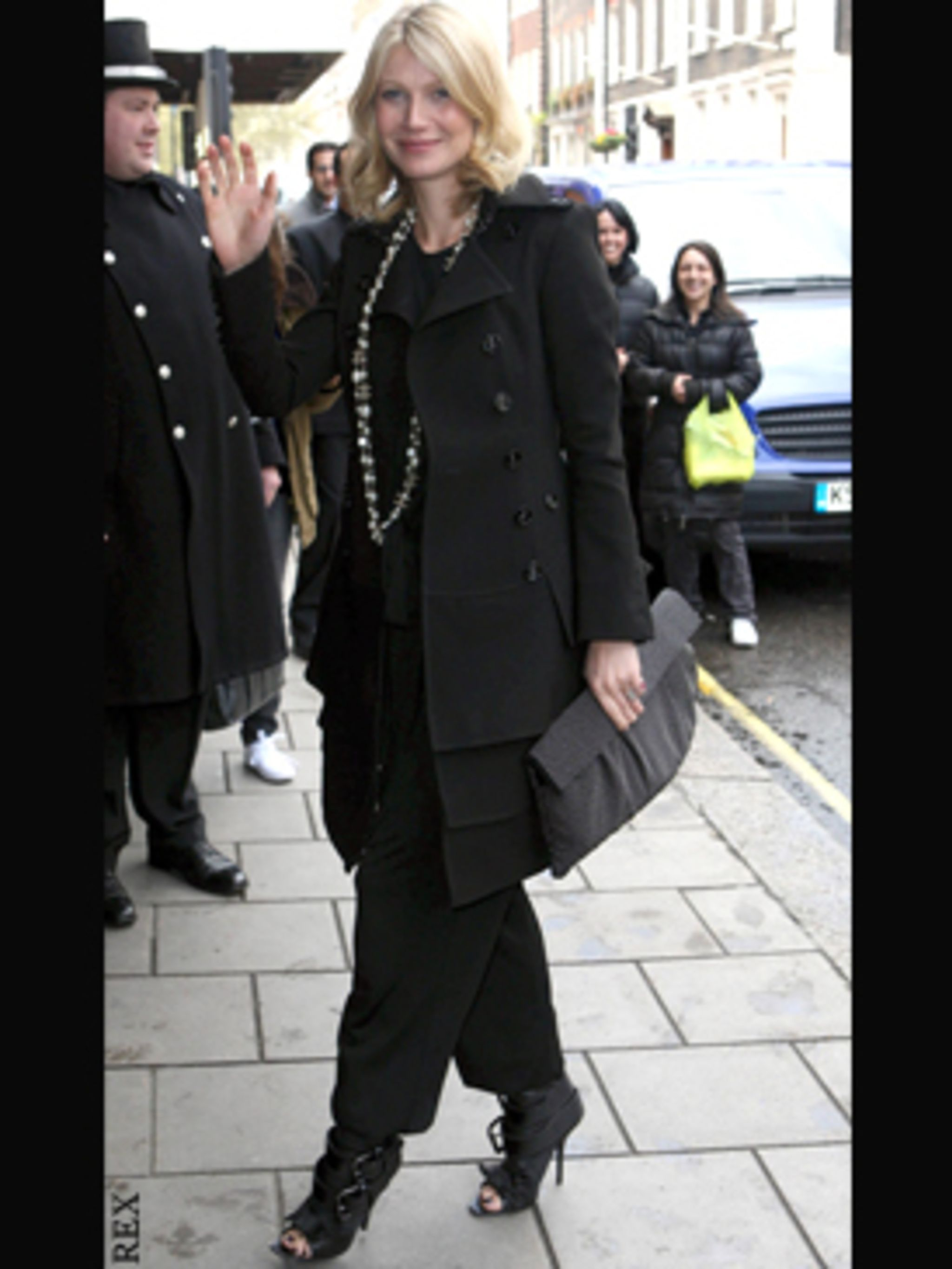 <p>In buckled shoe boots today at Claridges in London.</p>
