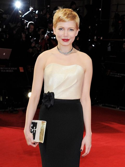 """<p>Michelle Williams in an H&M gown at the <a href=""""http://www.elleuk.com/star-style/red-carpet/bafta-awards-2012"""">2012 BAFTAs</a></p>"""