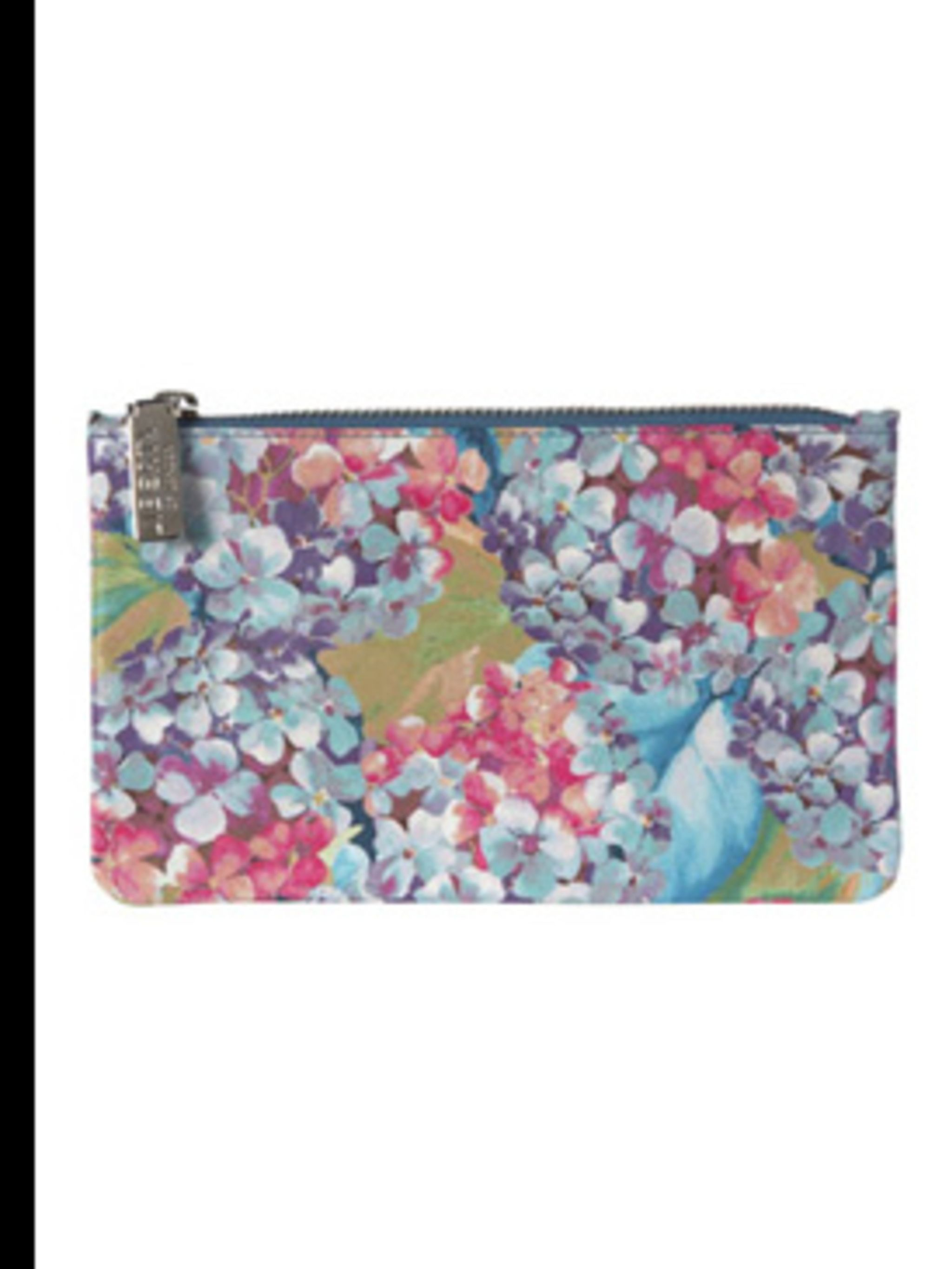 "<p>Purse, £75 by <a href=""http://www.liberty.co.uk/fcp/product/Liberty/NEW-IN/Lilac-Hydrangea-Flat-Zip-Purse,--Liberty-Of-London/14424"">Liberty of London</a></p>"