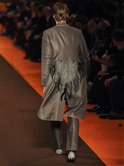 <p>Tail feathers on show at Etro A/W '12.</p>