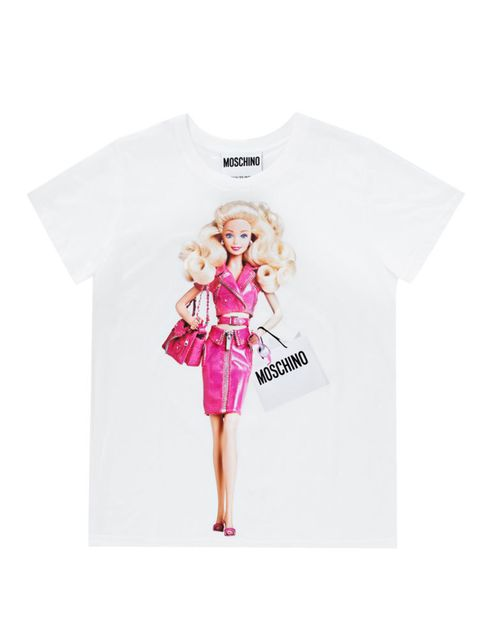 """<p>Barbie T-shirt Moschino £200,<a href=""""http://www.monnierfreres.co.uk/gbuk/scarves/other/barbie-t-shirt_pFVAAE4JW/size-m_BA00003072-BV00255882.html"""">Monnier Freres</a></p>"""