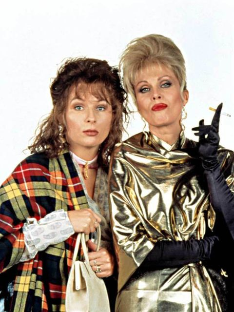 <p>Eddy wears a plaid scarf whilst Patsy does metallics in 'Absolutely Fabulous'.</p>
