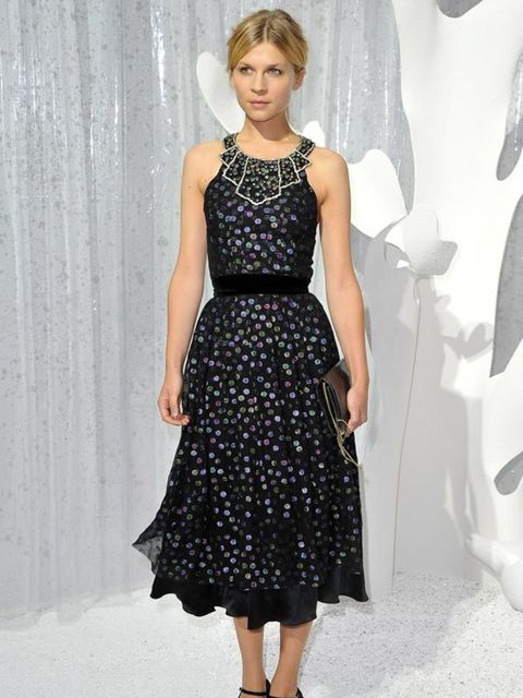 "<p>Clemence Poesy wears this <a href=""http://www.elleuk.com/catwalk/collections/chanel/"">Chanel</a> polka-dot halter dress with bejewelled neckline, <a href=""http://www.elleuk.com/catwalk/collections/miu-miu/"">Miu Miu</a> shoes and metallic clutch for the"