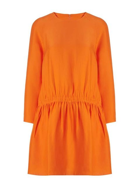 "<p>Bright colours are surprisingly easy to wear; pair this dress with neutral tan sandals.</p>  <p>Carven dress, £370 at <a href=""http://www.avenue32.com/bright-orange-crepe-de-chine-dress-56201/"" target=""_blank"">Avenue32</a></p>"