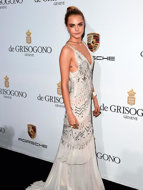 <p>Cara Delevingne wears Roberto Cavalli to the De Grisogono Party in Cannes, May 2014. </p>