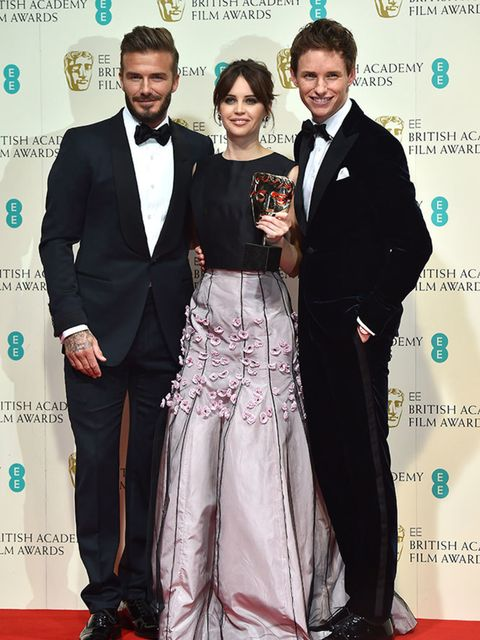 <p>David Beckham, Felicity Jones and Eddie Redmayne with the Theory Of Everything BAFTA for Outstanding British Film.</p>
