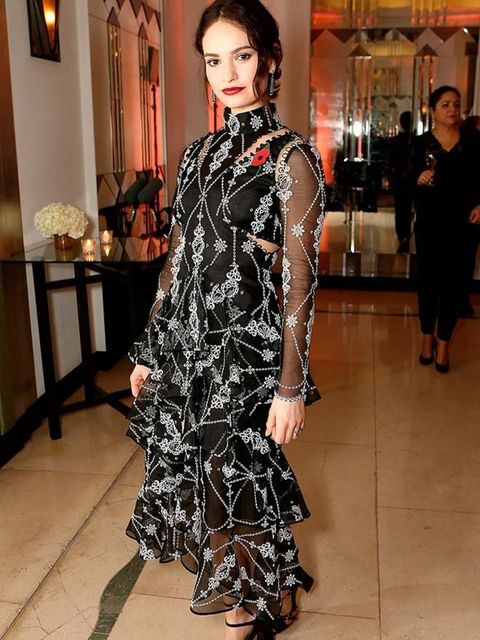 <p>Lily James wears Erdem to the Harpers Bazaar Women of the Year Awards in London, November 2015.</p>