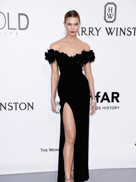 <p>Karlie Kloss on the amfAR red carpet, May 2016.</p>