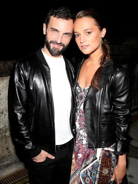 Nicholas Ghesquiere and Alicia Vikander at the Louis Vuitton Cruise party in Rio, May 2016.