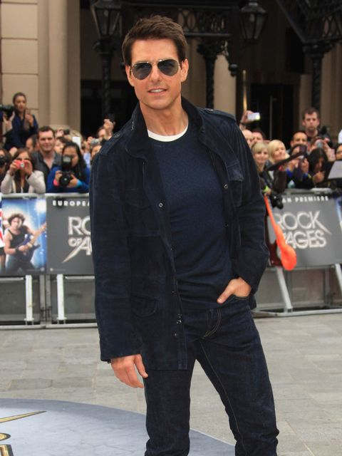 <p>Tom Cruise at the European Premiere of Rock Of Ages in London, in which he plays a rock star named Stacee Jaxx. He revealed the script for Top Gun 2 is currently in development and wore a jacket by Holmes and Yang – designed by his wife, Katie Holmes.<
