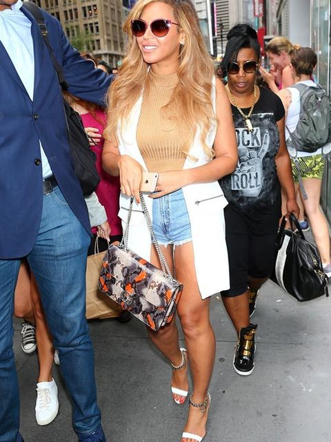 Beyonce wearing a £42 Topshop sleeveless jacket whilst out and about in New York, July 2015.