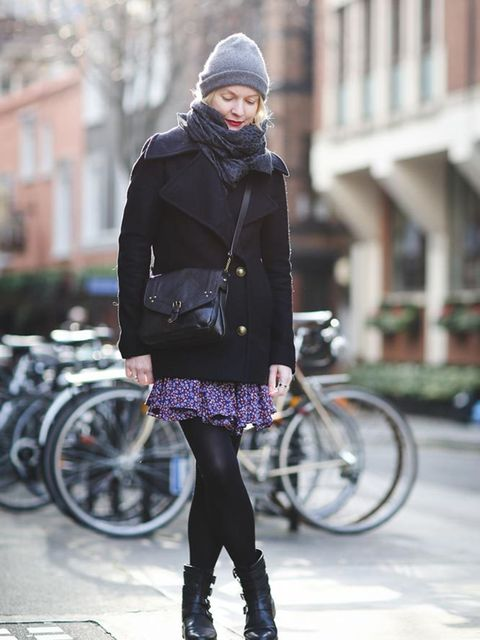 <p>Lorraine Candy, Editor-in-Chief</p>  <p>AllSaints coat, Topshop dress, Stuart Weitzman boots, Saint Laurent scarf, Jerome Dreyfuss bag, Cos hat</p>