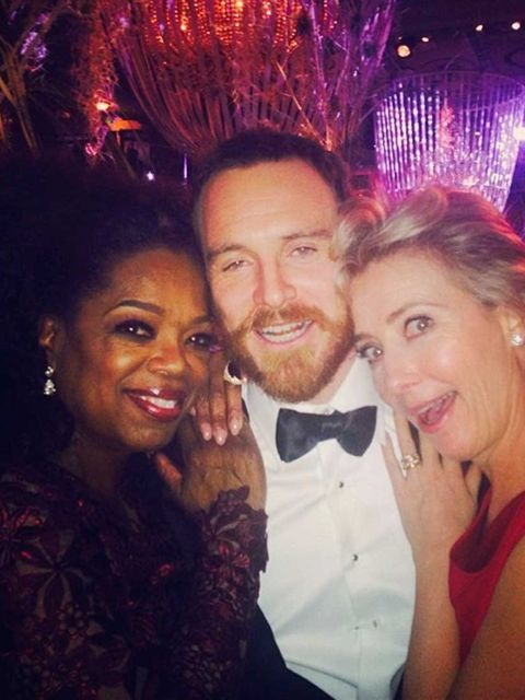 <p>Oprah Winfrey:</p><p>'Party over Here! With Michael Fassbender and Emma Thompson. #BAFTAs'</p>