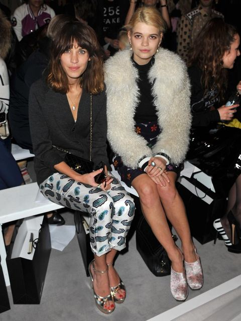 <p>Alexa Chung and Pixie Geldof on House of Holland's front row</p>