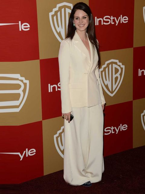"""<p><a href=""""http://www.elleuk.com/star-style/celebrity-style-files/lana-del-rey"""">Lana Del Rey</a> wears a voluminous trouser suit by Houghton to the Warner Bros and InStyle Golden Globes 2013 after party.</p>"""