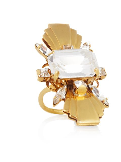 """<p>Gold tone crystal ring, £125 at <a href=""""http://www.theoutnet.com/"""">www.theoutnet.com</a></p><p>Available from Monday 5th November </p>"""