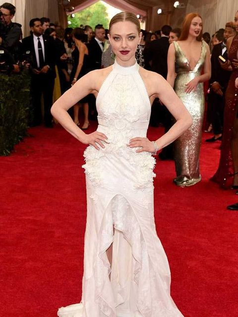 Amanda Seyfried, in Givenchy Haute Couture and Tiffany & Co jewels, attends the Met Gala, May 2015.