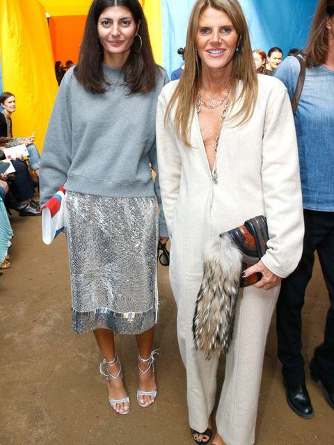 Giovana Battalia and Anna Dello Russo attend the Celine s/s 16 show.