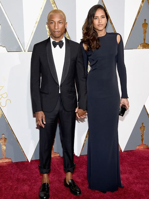 Pharell Williams and Lasichanh at the Oscars in LA, February 2016.