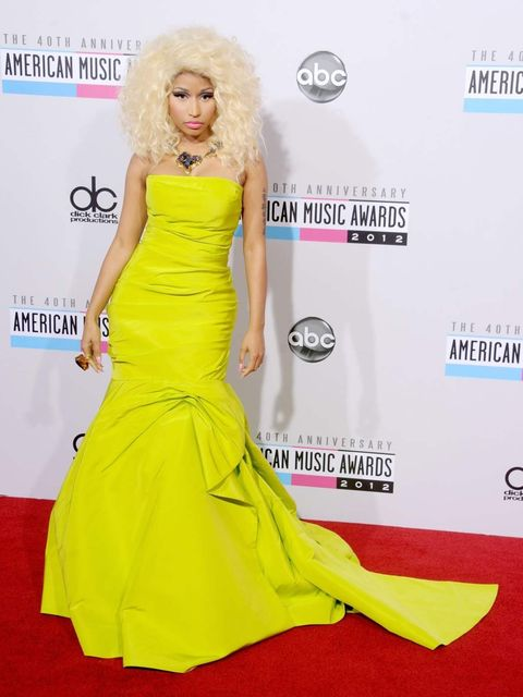 <p>Nicki Minaj in Monique Lhuillier at the American Music Awards</p>