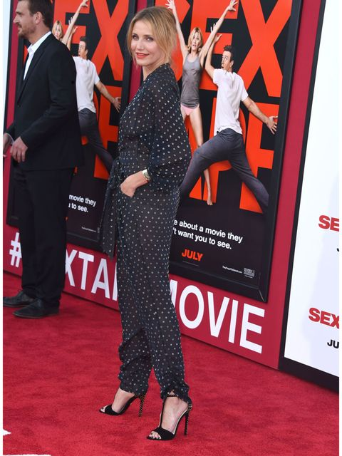 <p>Cameron Diaz wears a Stella McCartney jumpsuit to the Los Angeles premiere of her new film, <em>Sex Tape</em>.</p>