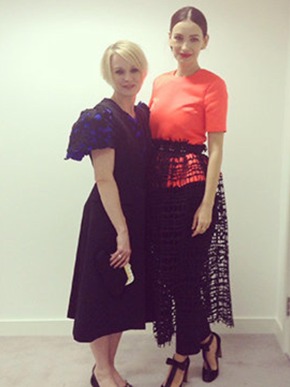 <p>Lorraine Candy and Roksanda Ilincic in the ELLE fashion cupboard</p>