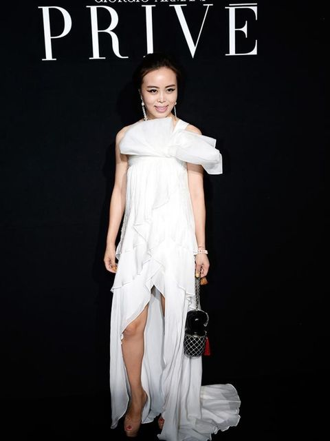 Mis Wen Wen at the Giorgio Armani Prive Couture show in Paris, July 2015.