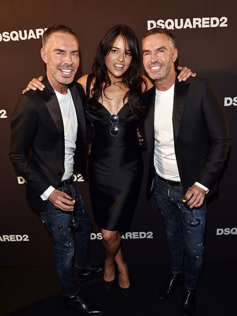 <p>Dean Caten, Michelle Rodriguez and Dan Caten at the DSquared2 s/s 16 show during Milan Fashion Week.</p>