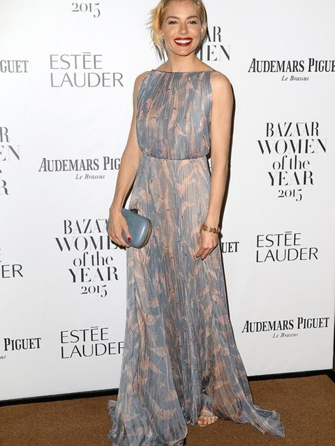 Sienna Miller attends the Harpers Bazaar Women of the Year Awards in London, November 2015.