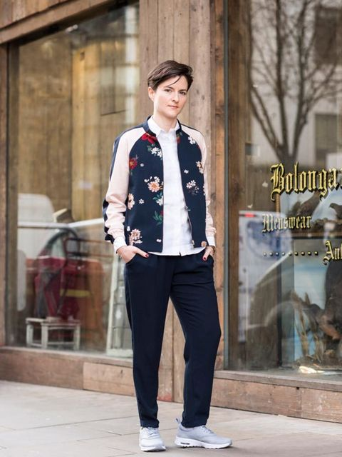 <p>Lotte Jeffs, Deputy Editor</p>  <p>Zara bomber jacker and trousers, Paul Smith shirt, Nike Air Max Thea trainers, Opening Ceremony bag</p>