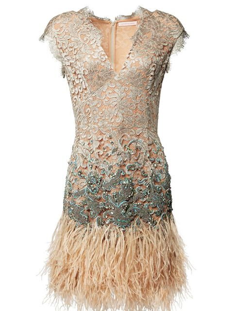 "<p>Cream Lacquer Lace Feather Dress,</p>  <p><a href=""http://www.matthewwilliamson.com/shop/product/9208/beige-winter-garden-couture-lace-dress"">Buy online</a></p>"