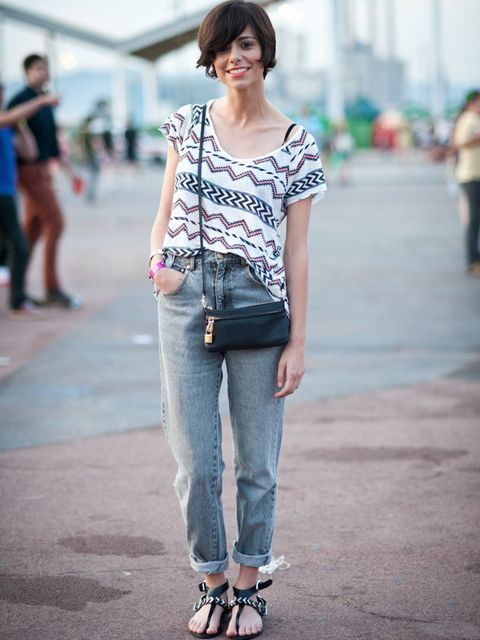 <p>Gabriela, 25,  in fashion. Zara T-shirt and sandals, vintage jeans, Loewe bag.</p><p>Photo by Stephanie Sian Smith</p>